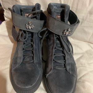 Puma gray velvet high tops size 9